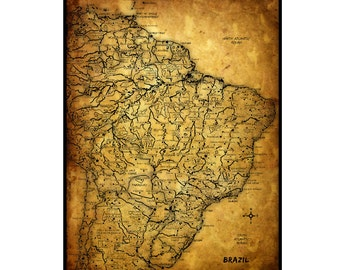 BRAZIL Vintage Map 5G- Handmade Leather Wall Hanging - Travel Art