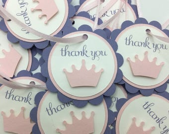 Pink and Lavender Tiara Thank You Tag, Pink and Purple Tag, Crown Thank You Tag, Princess Thank You Tag, Pink and Lavender Favor Tag, Label