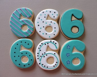 Large Number 6 Hand decorated sugar cookies for Birthdays (#2608)