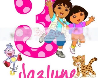 Personalized birthday shirt - Dora theme - Dora birthday shirt - Diego birthday theme - personalized dora and diego t-shirt - dora t-shirt