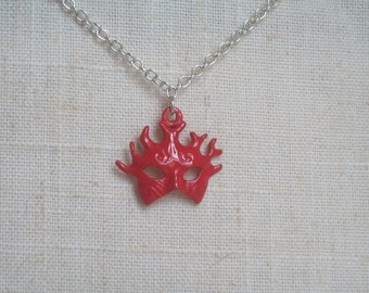 Red Mask Necklace, Stag Mask, Halloween, Masquerade, Mardi Gras, Phantom, Party, Bohemian, Gothic, Passion, Red Mask Necklace, Statement