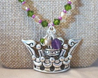 Crown Necklace - Mardi Gras Jewelry - New Orleans Jewelry - Women's Necklace - Silver Crown Necklace - Mardi Gras Necklace - Women's Gift