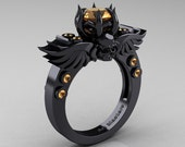 Art Masters Classic Winged Skull 14K Black Gold 1.0 Ct Peach Sapphire Solitaire Engagement Ring R613-14KBGPES