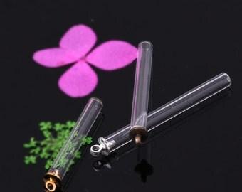 10 Wholesale Glass Tiny small Pendant Charm necklace Vials TUBE Bottles Round bottom 10075