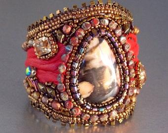 Free Shipping , Bead Embroidery, Bracelet, Cuff, Seed bead bracelet, Trending jewelry,Peanut wood jasper, bronze, red, swarovski,