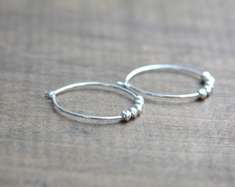 Sterling silver hoop earrings, hoop earrings, earrings, hoops, sterling silver, everyday jewelry, sterling silver beads, hand made, artisan