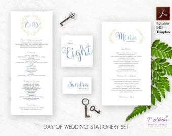 Wedding program - menu - table number - place card set, Day of Wedding Stationery, Instant Download, Digital Download - CARMD10-T