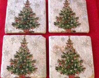 Christmas Coasters - Christmas -  4X4 Coasters - Christmas Tree Tumbled Marble Tile Coasters - Gift