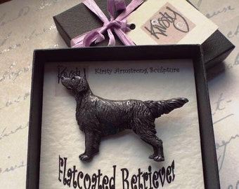 Flatcoated retriever brooch intricately detailed cold-cast pewter or copper, sculpted & hand cast in Cumbria by a Flattie owner!