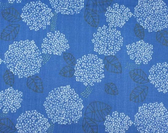 Trefle hydrangeas in white on blue, cotton double gauze fabric from Kokka Japan, by the yard