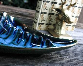 Blue Green, Drip Glaze, Ashtray, Mid Century, Party Size