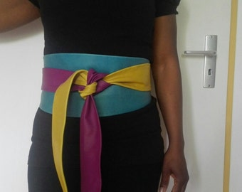 XL- genuine Leather patchwork Obi belt, corset belt, wrap on belt, corset belt, wide waist belt colours yellow, turqouise and pinky purple