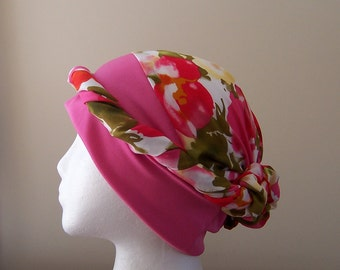 Chemo Scarf with Knit Headband for Women - Three Variations in Pink, Grey, Blue, and Black Ready to Ship