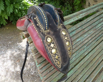 French Antique leather horse saddle harness equestrian tauromachy horse decor, bullfighting horse equipment, equestrian cowboy ranch decor