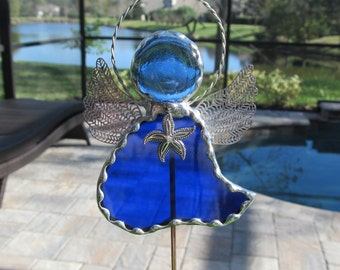 Stained Glass Starfish Angel Charm Garden Plant Stake - Cobalt Cathedral Glass - Memorial Marker - Tibetan Silver Starfish Charm