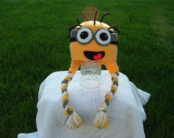 Minion From Despicable Me Ear Flap Hat One or Two eyes Any size.