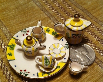 Teaset for Dollhouse Dining, Porcelain With Cherries