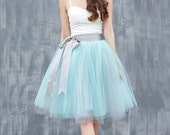 Tulle Skirt Tea length Knee length Tutu Skirt Fixed Waist tulle tutu Princess Skirt Wedding Skirt in Mint and Grey - NC649