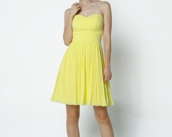 On Sale Size XXS Yellow Wedding dress party dress bridesmaid dress Prom handmade knee length formal dress - NC638-2