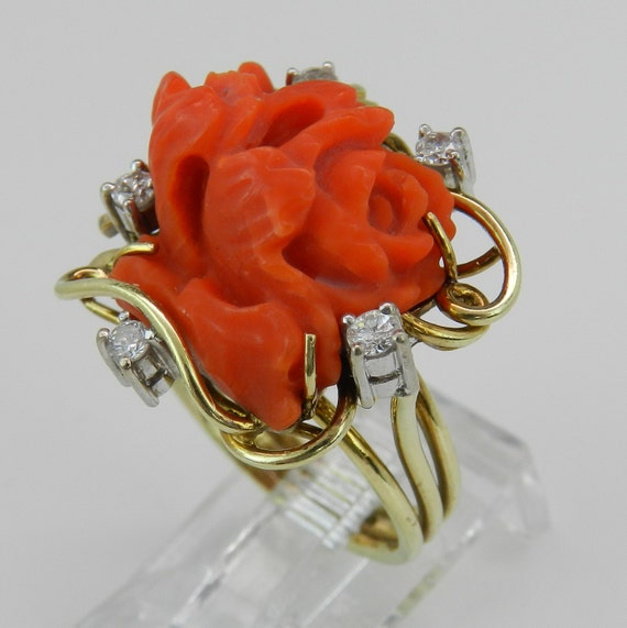 Antique Vintage 14K Yellow Gold Diamond and Coral Cocktail Ring RARE Color Size 6