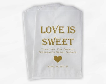 Love Is Sweet Candy Buffet Treat Bags - Personalized Bridal Shower Favor Bags in Gold - 25 Custom Paper Bags (0167)