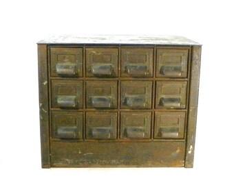 Industrial Metal 12 Drawer Storage Bin