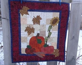 Fall Quilt,  Pumpkin Wall Quilt, Sunflower Quilt 0110-01