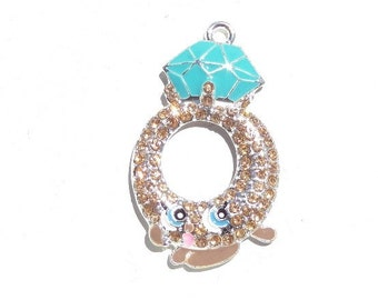 38mm, Shopkin Ring Inspired Rhinestone Pendant, P49