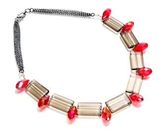 Smokey Quartz Necklace, Quartz Necklace, Black Necklace, Black and Red, Boho Necklace