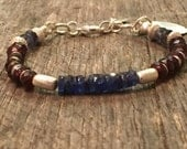 Fine Blue Sapphire and Garnet Bracelet, Water Sapphires and Sterling Silver Charm, Raw Organic Jewelry