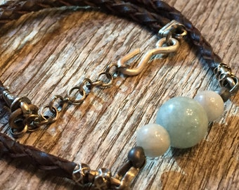 Aquamarine - Leather - Men/Unisex Jewelry - Sterling Silver - Oxidized - Artisan Jewelry - Sundance Style
