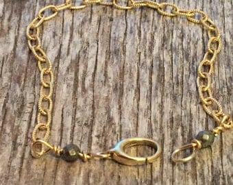14 K Solid Gold Texture Chain Bracelet - Large Clasp - Wire Wrapped in 14 K Gold Wire - Rustic Style - Artisan Jewelry -