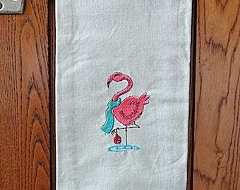 Embroidered Christmas Flamingo  Towel,  Embroidered Christmas Flamingo Kitchen Towel, Embroidered Christmas Towel