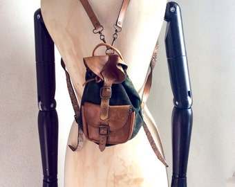 Vintage MINI leather Rucksack backpack Leather Boho folk Rustic saddle extra smal bag back pack green and natural brown leather Refr:1164