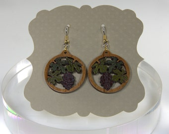Inlaid Wood Earrings with Purple Grapes, Miniature Marquetry