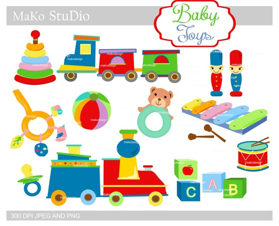 Baby Boy Toys Clip Art : Items similar to toys digital clip art baby