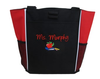 Tote Bag Personalized Teacher Aide Counselor Professor Admin Apple Books Worm Ruler