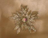 Vintage Sparkling Aurora Borealis Rhinestone Star Snowflake Pin, Holiday Glam