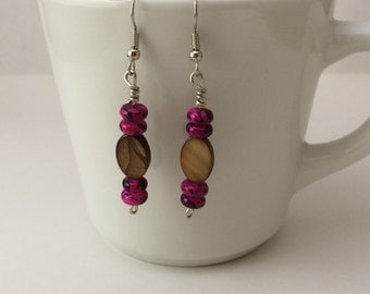 Brown and Pink/Teal and Brown Stacked Dangle Earrings
