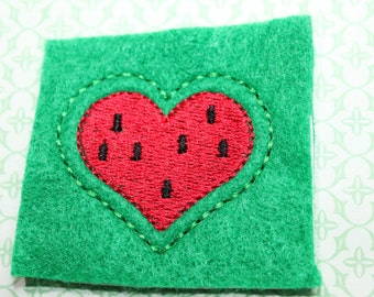 Heart shaped watermelon feltie, red watermelon w/seeds & kelly green felt, felt stitchies, 4 pcs for hair accessories, scrapbooking.crafts