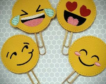 Emoji vinyl planner paperclip, bookmark, Emoji on yellow vinyl paperclip, planner paperclip accessories, planner supply emoji paperclip,