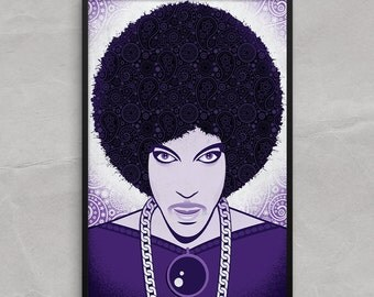 Prince in Purple Poster or Framed Print, Prince, the artist musician in Purple art print