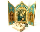 "Vintage Triptych Large 13"" Tole Wood Italian Florentine Madonna Virgin Mary Angels Turquoise Altar"