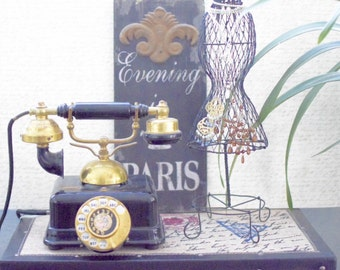 Vintage Rotary Dial French Style Telephone - Black and Gold Color