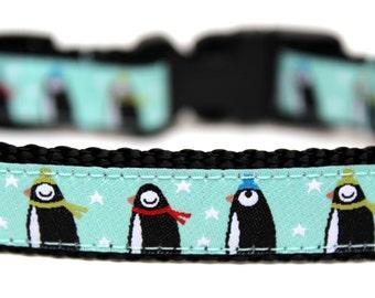 "Winter Dog Collar 5/8"" Penguin Dog Collar SIZE SMALL Ready To Ship"