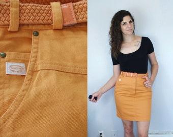 jaren 1990 vintage solide oranje hoge taille ingesnoerd Denim Jean rok / boven-knie Mini Rok w / geweven riem & knop-Up Split / kleine Medium S M 6 7