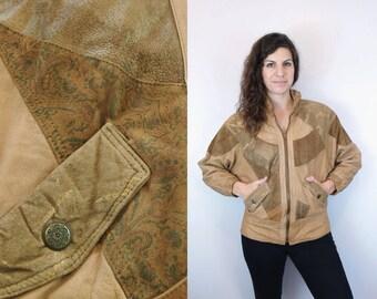 1980s 1990s Vintage Gold Light Golden Brown Khaki Beige Tan Leather Patchwork Zip Up Jacket / Batwing Oversized Suede Coat Blazer / Medium M