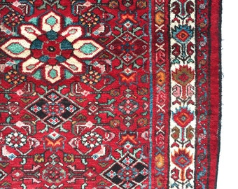 Hamadan Pile Rug, Hand Knotted Wool,  Red / Raspberry,  Tribal Decor