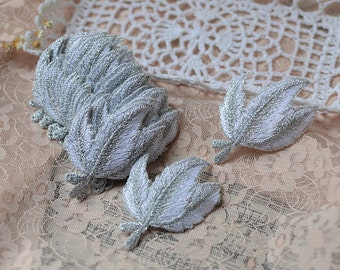 100pcs 36.5x4.7cm wide silver leaf embroidered appliques ptaches L16K1195 free ship