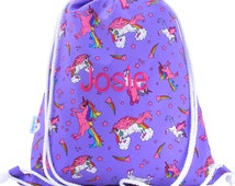 Girls Personalised Drawstring Bag, Swim Bag, Waterproof Backpack - Unicorn
